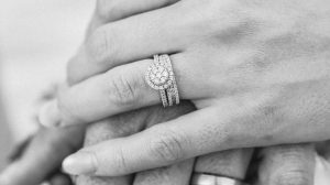Lab grown engagement ring on woman's finger