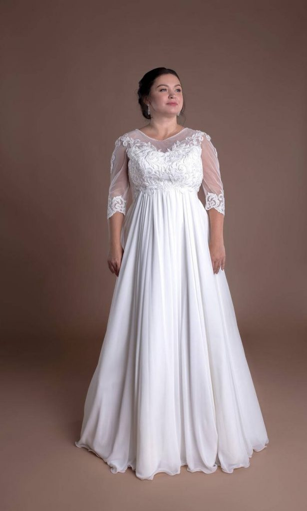 Empire waist wedding dress white