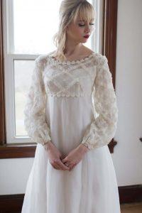 Bride wearing empire waist wedding gown