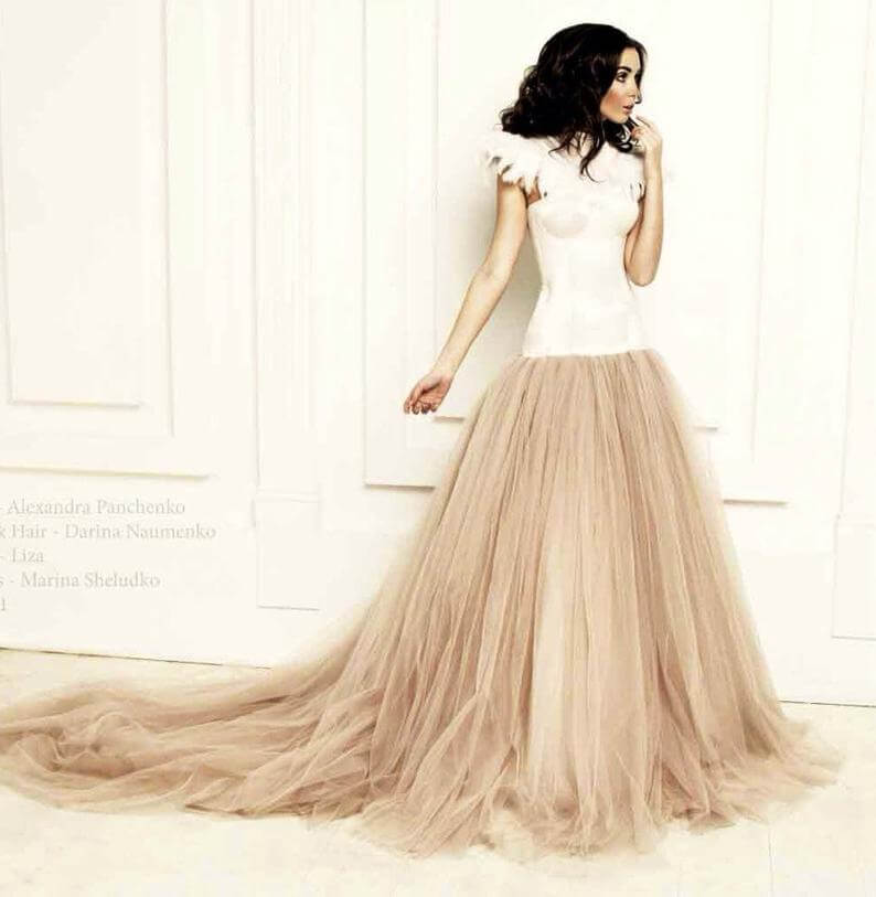 Bride with empire waistline wedding dress