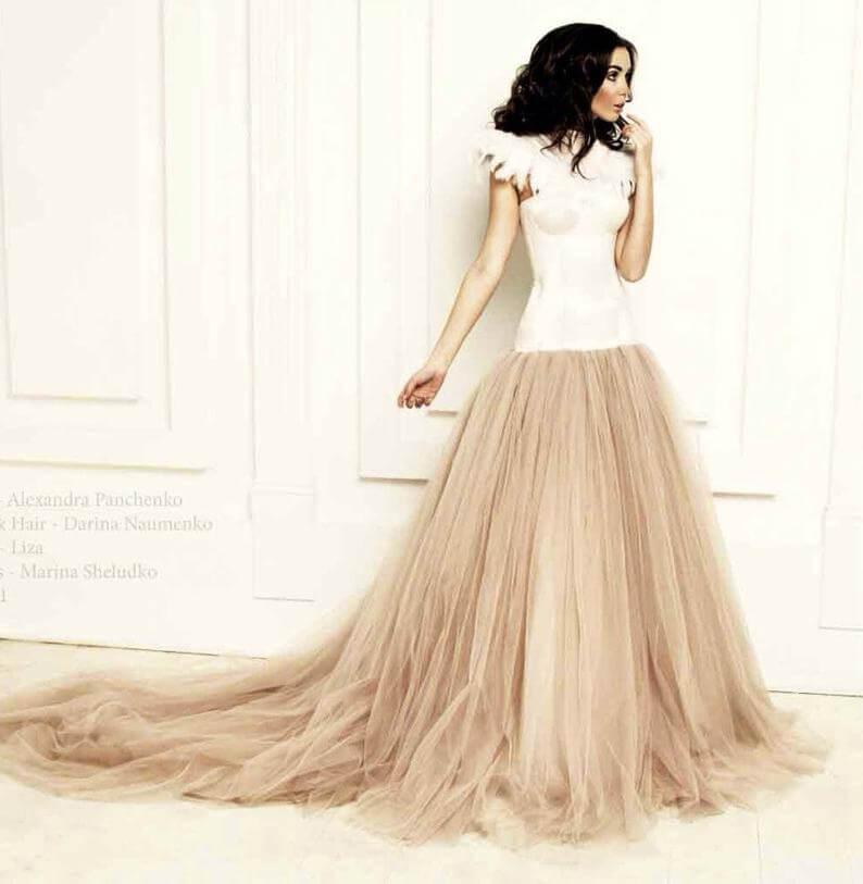 Bride with empire waistline wedding dress