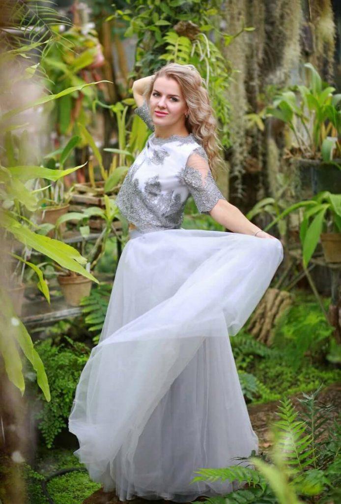 Bride with grey bridal separates