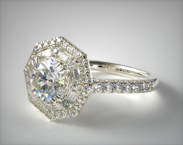 Halo setting fancy engagement ring in white gold