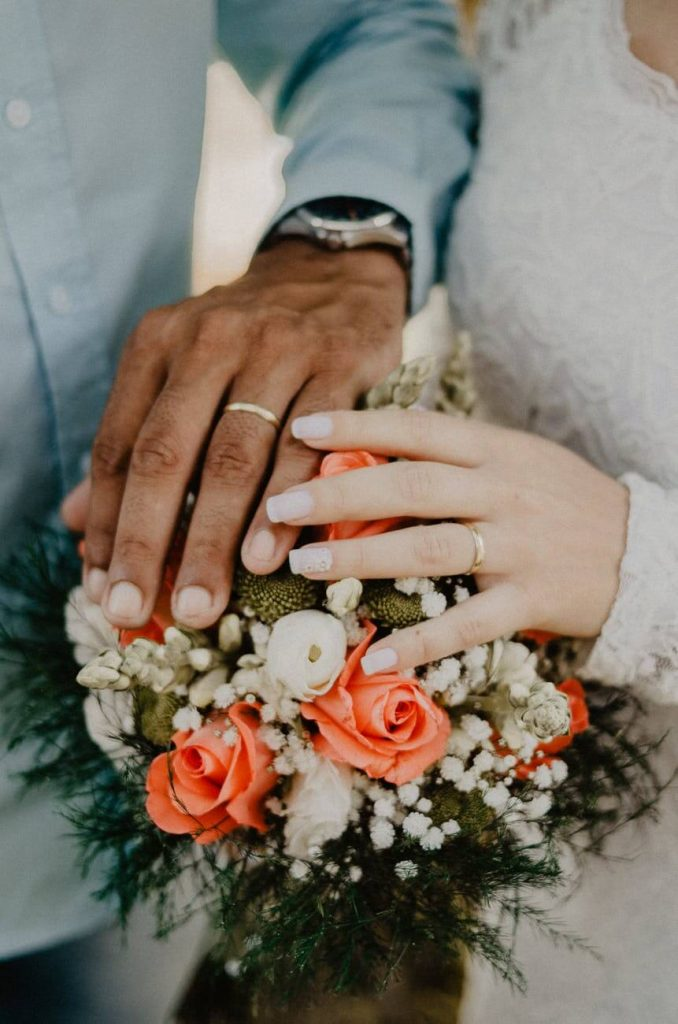 Bride and groom showing their wedding ring