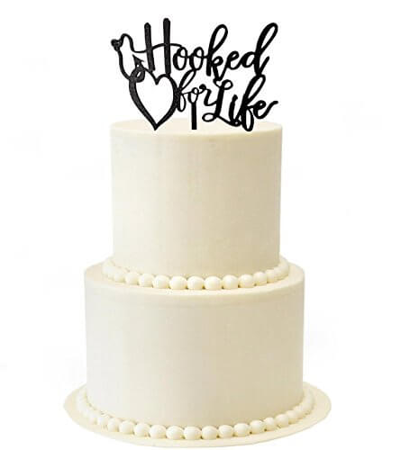 Hooked for life wedding cake topper