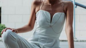 Bride wearing jumpsuit