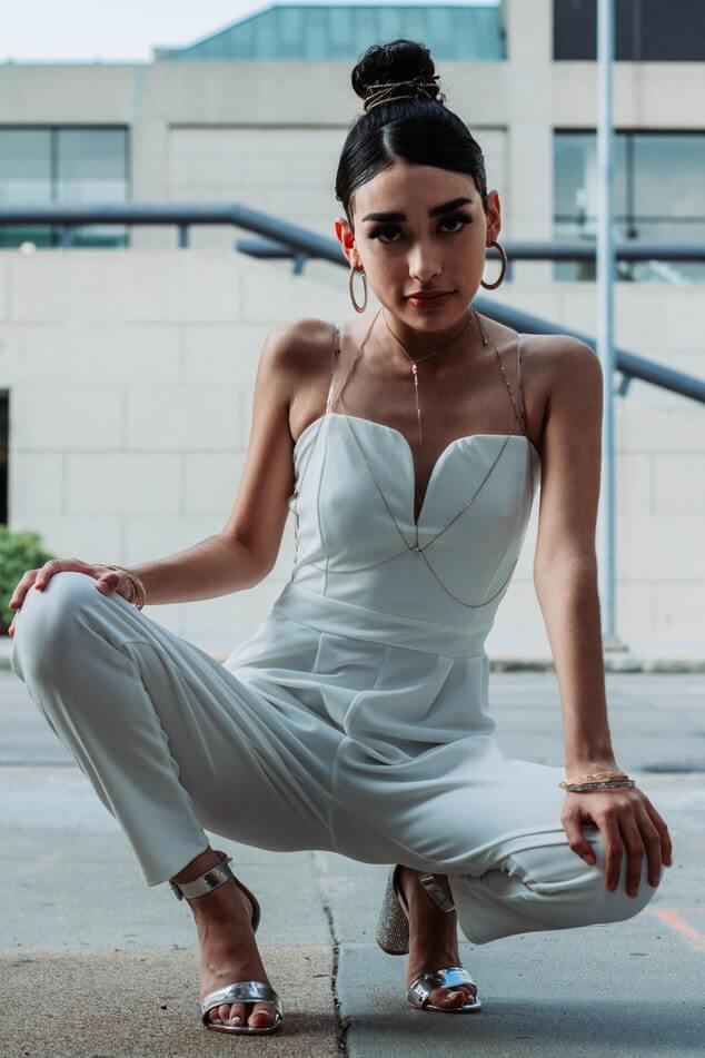 Bride wearing jumpsuit