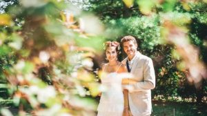Bride and groom in their summer wedding
