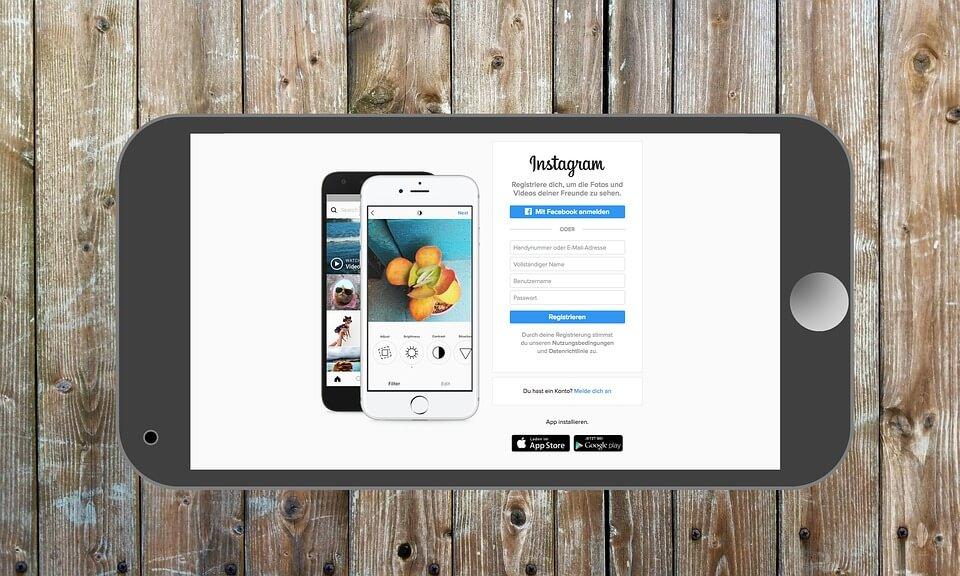 Phone showing Instagram