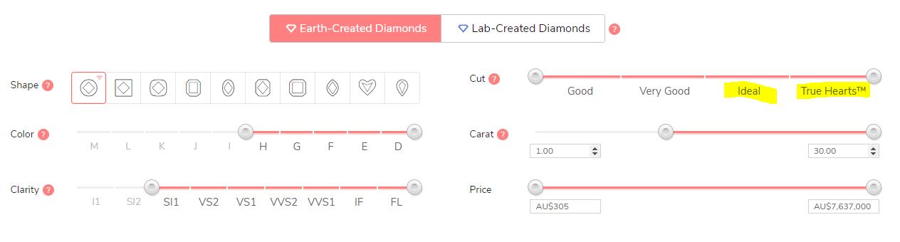 James Allen loose diamond filter