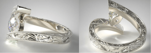 Milgrain tension engagement ring in white gold
