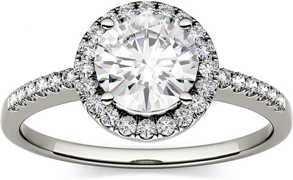 Moissanite engagement ring from charles & colvard