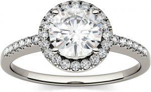 Moissanite engagement ring from charles & colvard