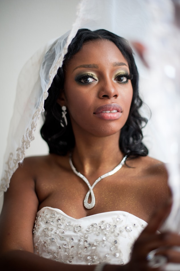 Necklace on bride with white wedding dress wearing veil