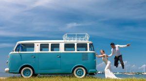 Bride and groom getting ready for a beach wedding