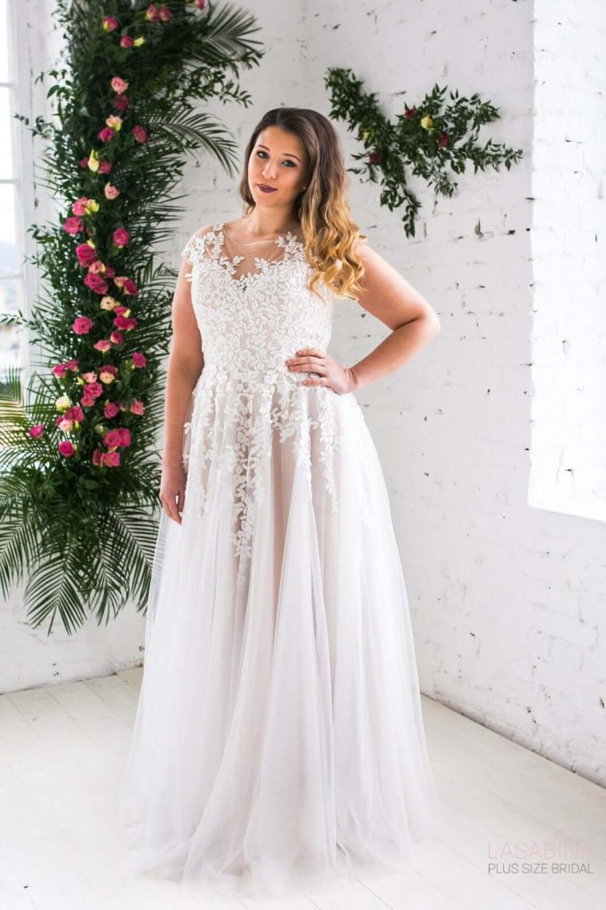 plus sized a line wedding dress