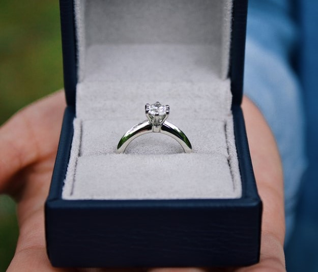 Rhodium plated ring in a black box