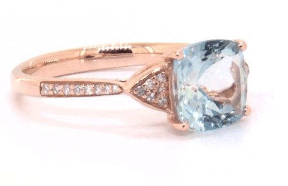 rose gold aquamarine engagement ring