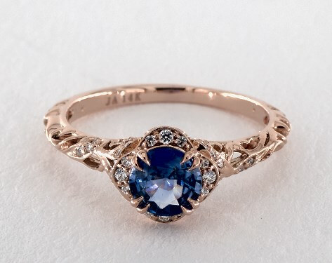 Blue sapphire ring in rose gold prong setting