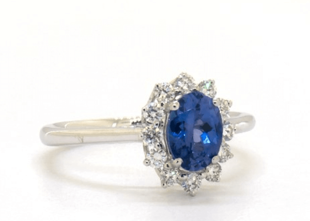 Sunburst blue tanzanite engagement ring