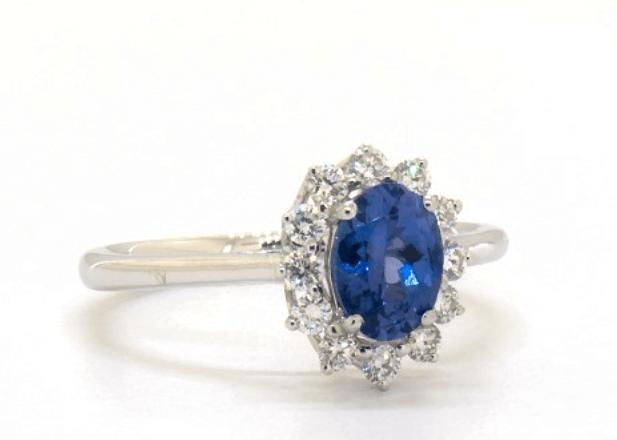 Sunburst blue tanzanite engagement ring