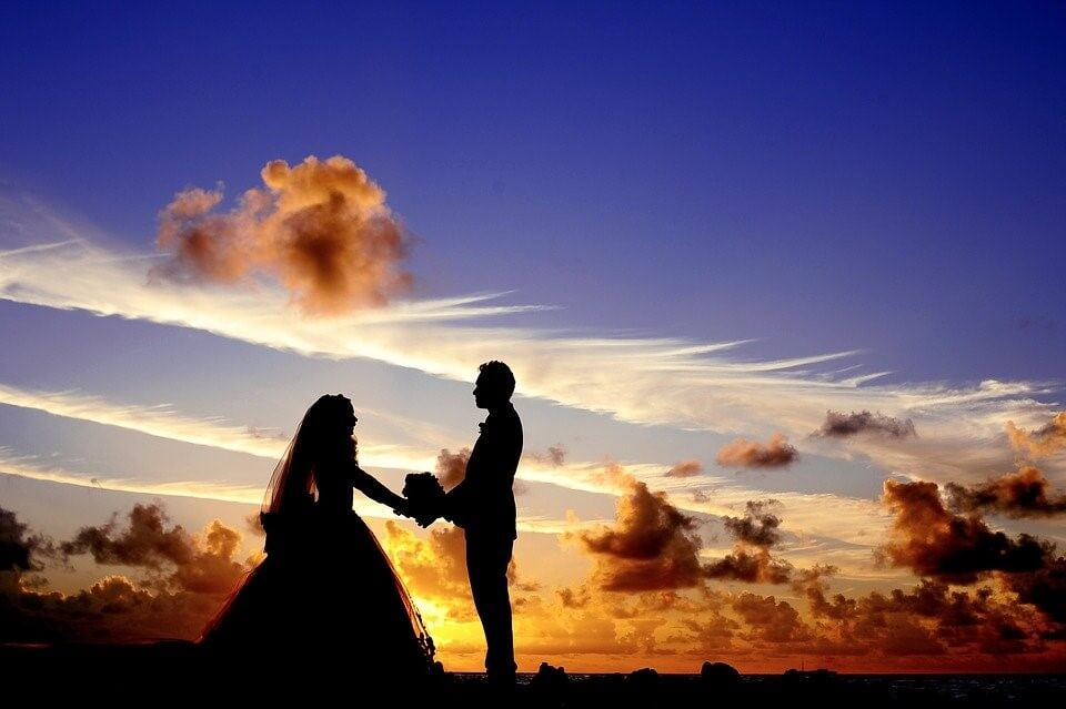 Sunset wedding in summer
