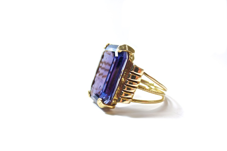 Tanzanite engagement ring side view