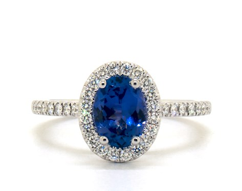 Deep blue tanzanite ring