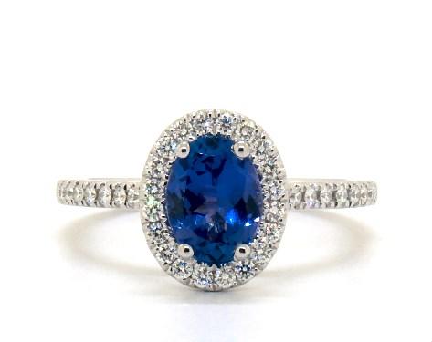 Deep blue tanzanite ring