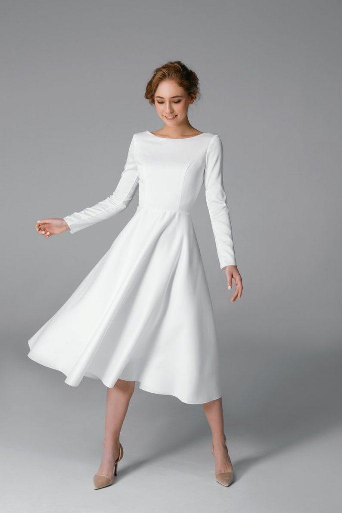 Simple short wedding dress Long sleeve satin wedding dress image 0