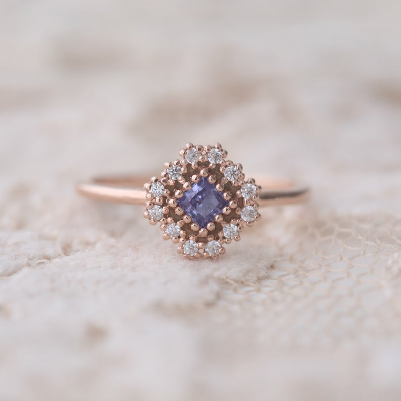 Unique rose gold tanzanite ring