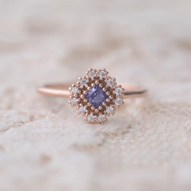 Unique rose gold tanzanite ring