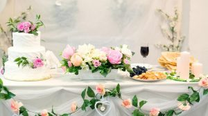 Wedding cake on decorated table
