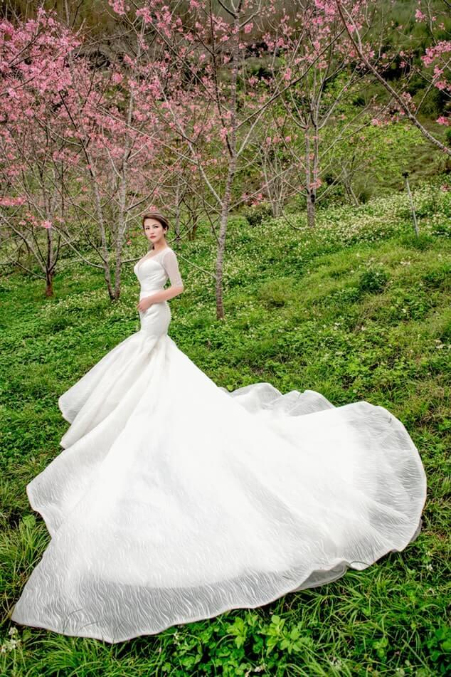 Bride in wedding dress at the garden venue