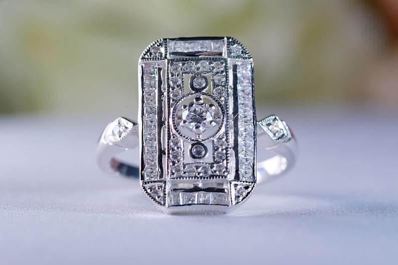 1920s ring with milgrain filigree