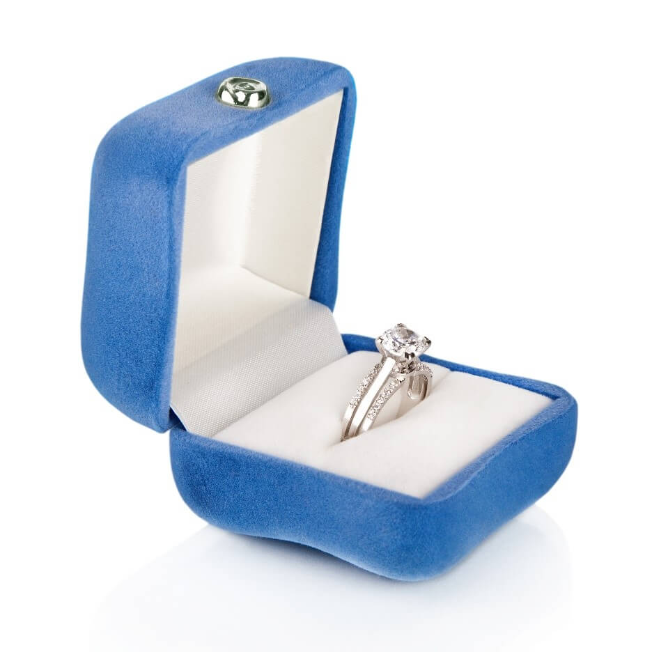 Engagement ring in a blue box