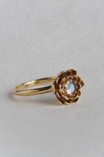 Moonstone engagement ring flower engagement ring yellow gold image 2