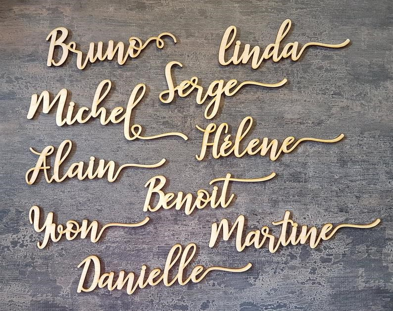 Place cards Wedding place cards Custom Laser Cut Names Place Birch plywood