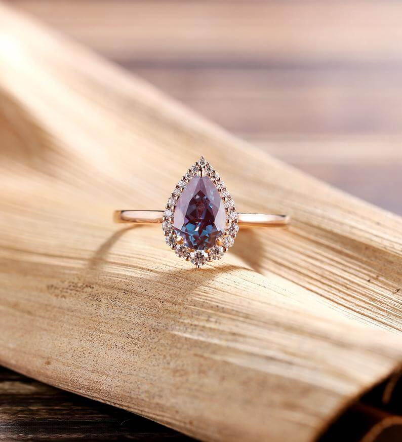 Alexandite purple engagement ring