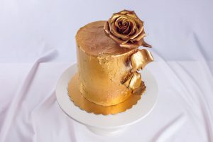 All gold wedding cake