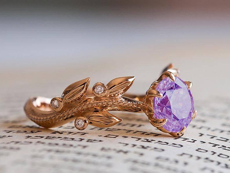 Amethyst engagement ring