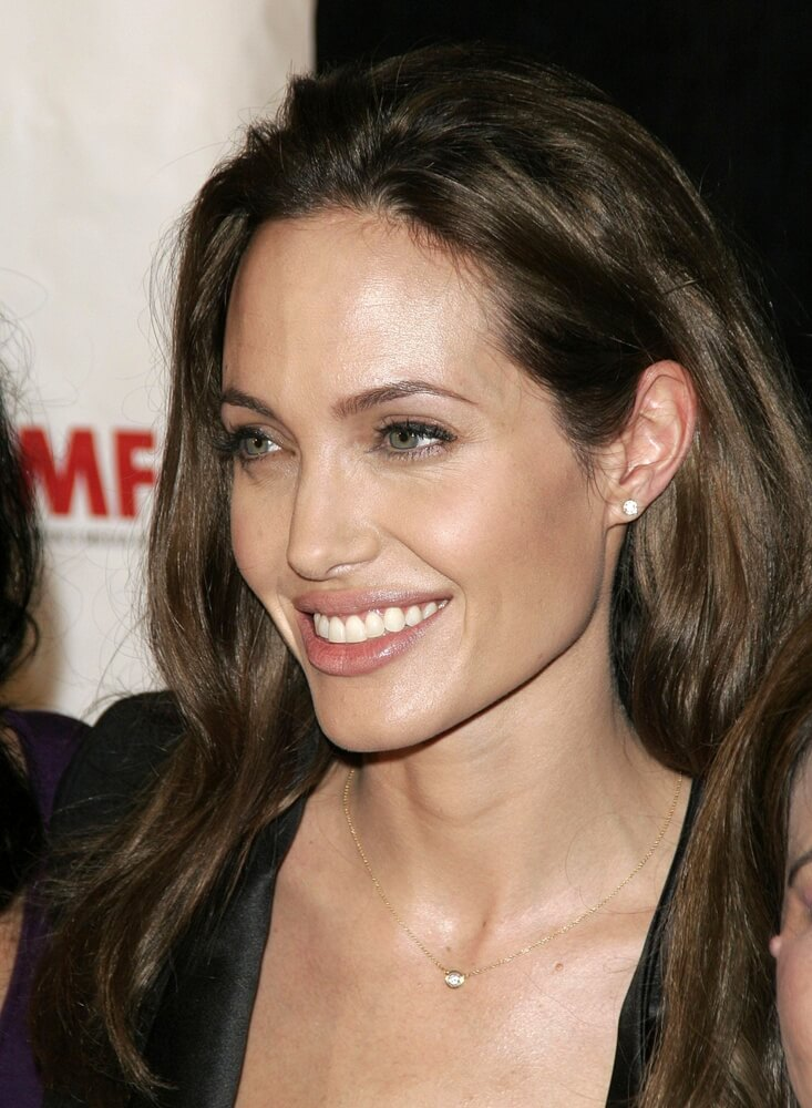 Angelina Jolie wearing diamond stud