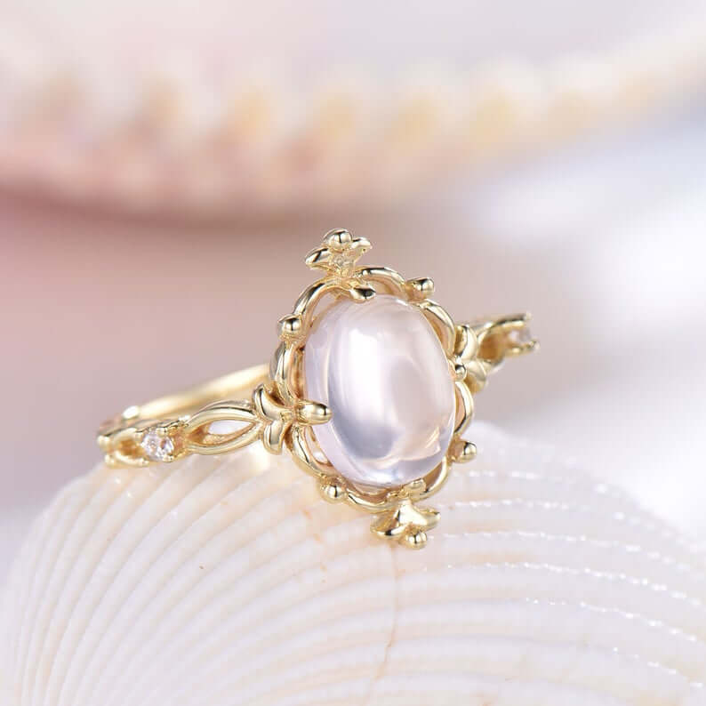Antique inspired moonstone ring