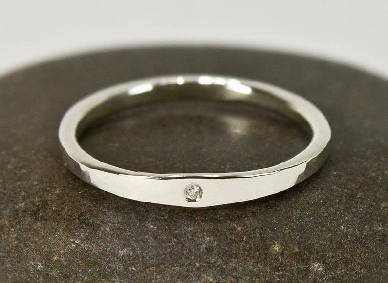 Argentium silver diamond ring