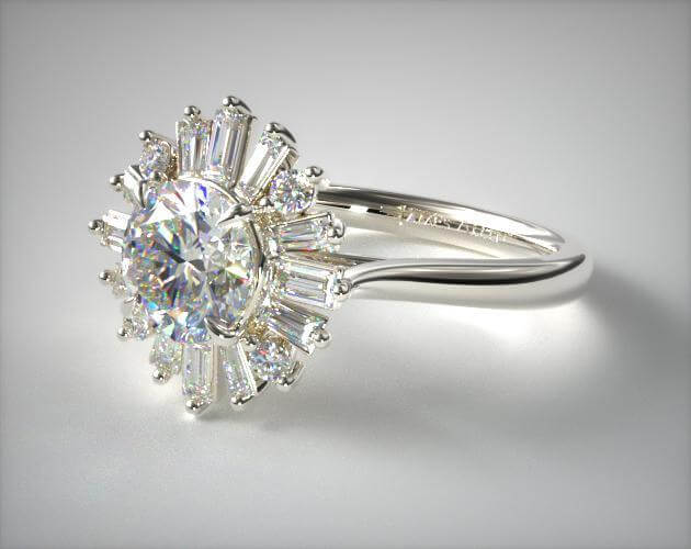 baguette-halo engagement ring