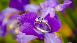 purple gemstone engagement ring closeup