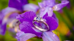 purple gemstone engagement ring closeup