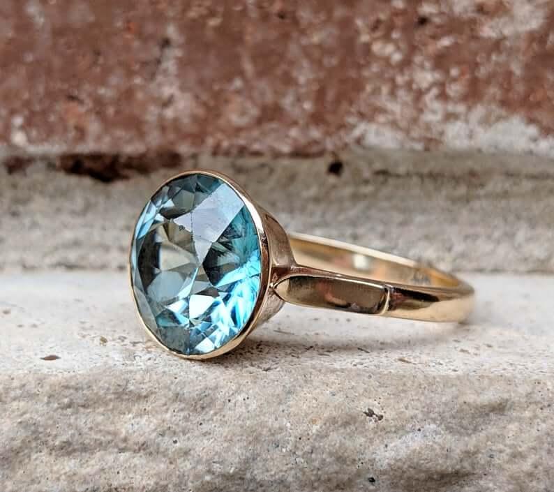 Blue bezel set 1960s ring