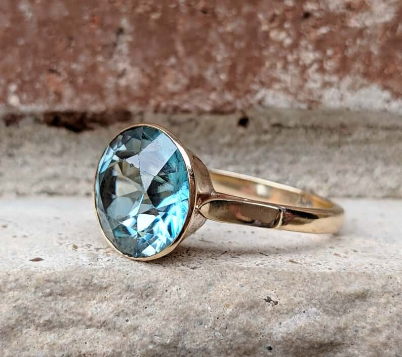 Blue bezel set 1960s ring