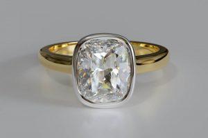 Bezel setting oval shape diamond engagement ring
